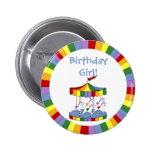 Rainbow Unicorn Carousel Birthday Button