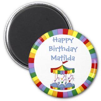 Rainbow Unicorn Carousel Birthday Magnet