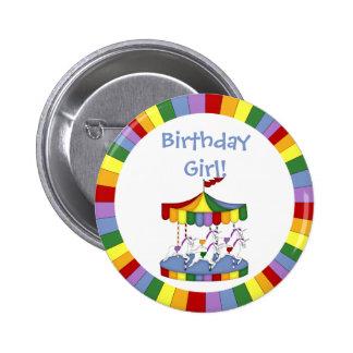 Rainbow Unicorn Carousel Birthday Pinback Button