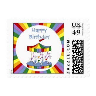 Rainbow Unicorn Carousel Birthday Postage Stamp