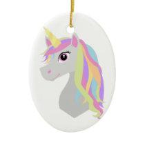 Rainbow Unicorn Ceramic Ornament