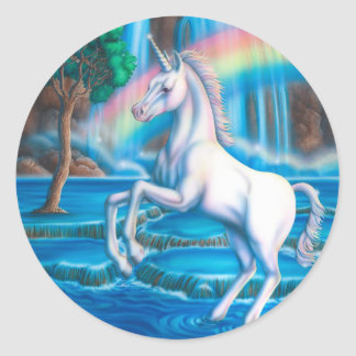 Rainbow Unicorn Classic Round Sticker