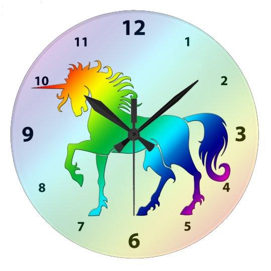 Rainbow Unicorn Clock Zazzle Com