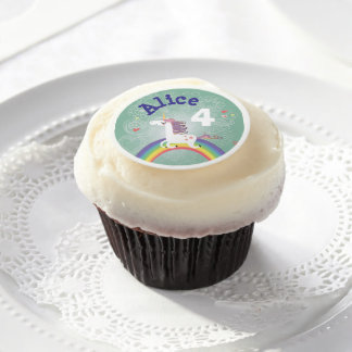 Rainbow Unicorn Cupcake Frosting Rounds - GREEN