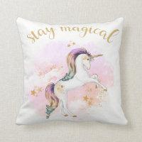 Rainbow Unicorn Cushion, Stay Magical Throw Pillow