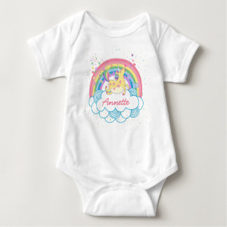 Rainbow Unicorn Cute Personalized Girls Baby Tshir Baby Bodysuit
