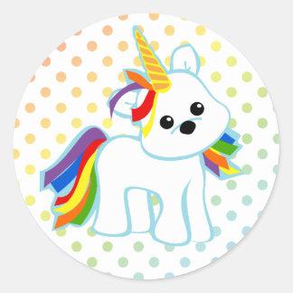 Rainbow Unicorn Cutie Classic Round Sticker