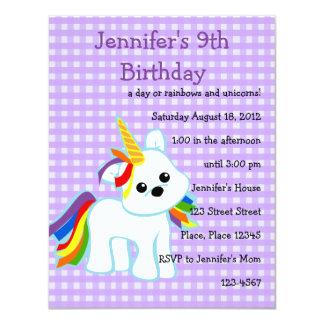 Rainbow Unicorn Cutie Personalized Invites