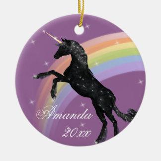 Rainbow Unicorn Fantasy Ceramic Ornament