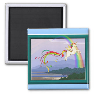 Rainbow unicorn fridge magnet