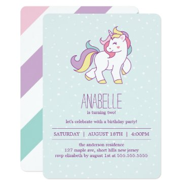 heartlocked Rainbow Unicorn Girls Birthday Party Card