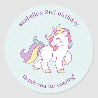 Rainbow Unicorn Girls Birthday Party Classic Round Sticker