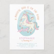 Rainbow Unicorn Girl's Birthday Party Invitation