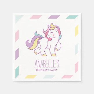 Rainbow Unicorn Girls Birthday Party Paper Napkin