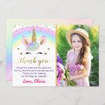 Rainbow Unicorn Gold Glitter Girl Birthday Photo Thank You Card