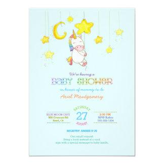 Rainbow Unicorn Hanging from Stars Baby Shower Card