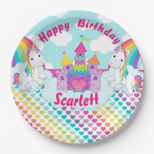 Rainbow Unicorn Happy Birthday Personalized Paper Plate