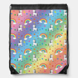 Rainbow unicorn hearts stars pattern cinch bags
