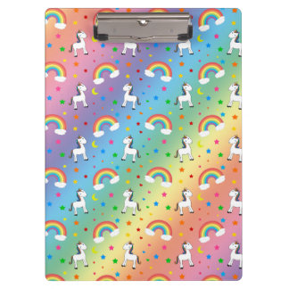 Rainbow unicorn hearts stars pattern clipboard