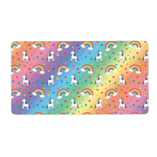 Rainbow unicorn hearts stars pattern label