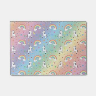 Rainbow unicorn hearts stars pattern post-it® notes