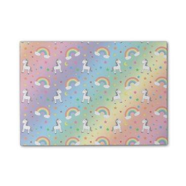 Valentines Themed Rainbow unicorn hearts stars pattern post-it notes