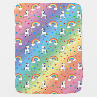 Rainbow unicorn hearts stars pattern receiving blanket