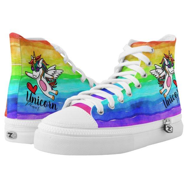 Rainbow Unicorn High-Top Sneakers