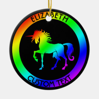 Rainbow Unicorn In Black Circles Ceramic Ornament