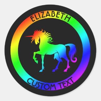 Rainbow Unicorn In Black Circles Classic Round Sticker