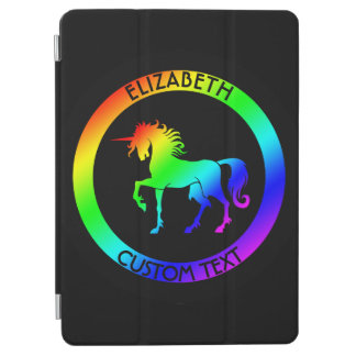 Rainbow Unicorn In Black Circles iPad Air Cover
