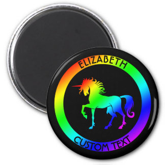 Rainbow Unicorn In Black Circles Magnet