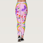 "Rainbow unicorn Leggings Personalize Yoga Pants<br><div class=""desc"">YOU CHOOSE the background color. Change from pink using the Color Picker Tool to any rainbow color.  Add YOUR name to the ankles.</div>"