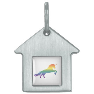 Rainbow Unicorn lgbt Pet Name Tag