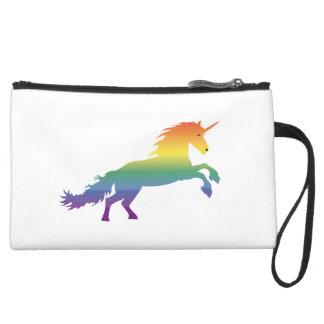 Rainbow Unicorn lgbt Suede Wristlet