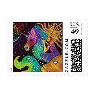 Rainbow Unicorn Mermaid Postage Stamps