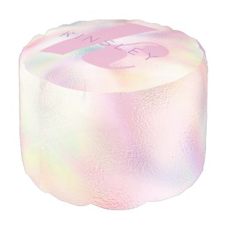Rainbow Unicorn Monogram Pouf