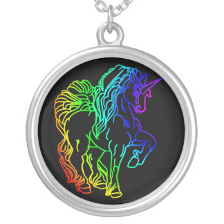Rainbow Unicorn Round Pendant Necklace