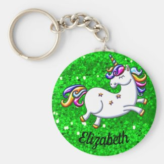 Rainbow Unicorn on Green Glitter Keychain