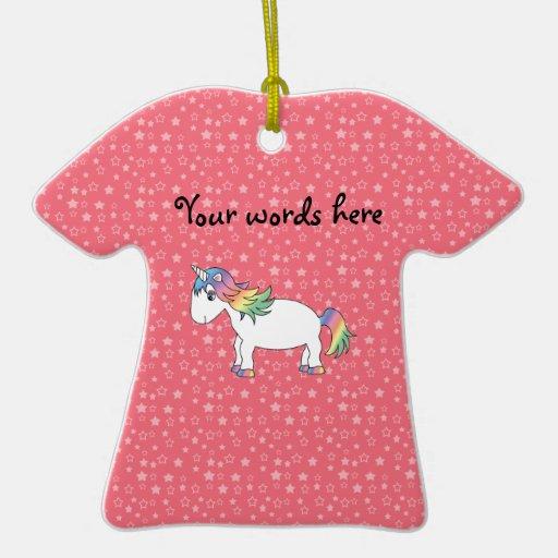 Rainbow unicorn ornament pink stars