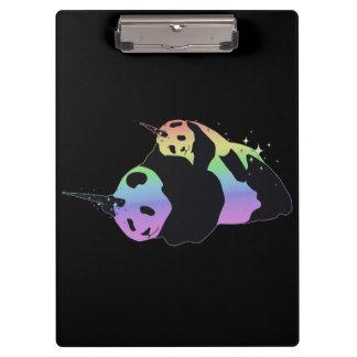 Rainbow Unicorn Pandas Magic Sparkle Cuddle Clipboard