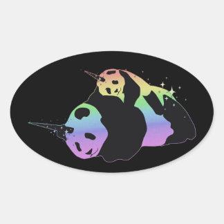 Rainbow Unicorn Pandas Magic Sparkle Cuddle Oval Sticker