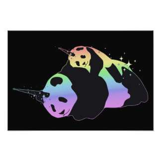 Rainbow Unicorn Pandas Magic Sparkle Cuddle Photo Print