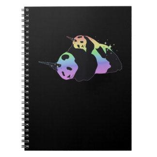 Rainbow Unicorn Pandas Magic Sparkle Cuddle Spiral Notebook