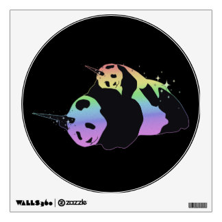 Rainbow Unicorn Pandas Magic Sparkle Cuddle Wall Decal