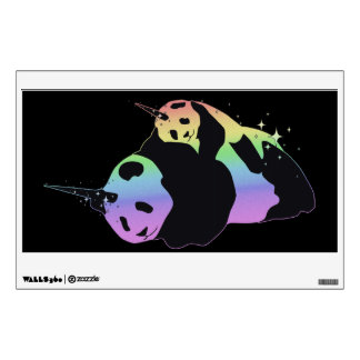 Rainbow Unicorn Pandas Magic Sparkle Cuddle Wall Sticker