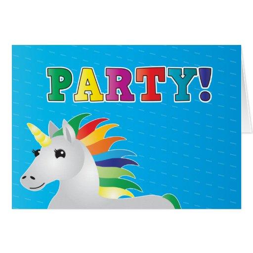 Rainbow unicorn party invite on blue PARTY Card