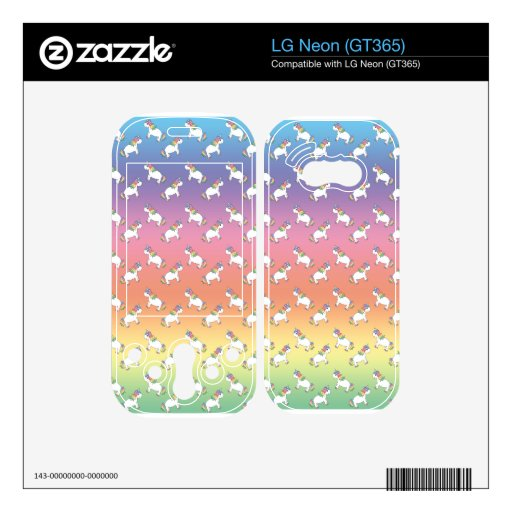 Rainbow unicorn pattern decals for the LG neon