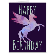 Rainbow unicorn Pegasus winged horse birthday Card