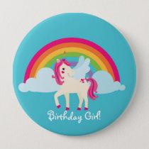 Rainbow Unicorn Personalized Birthday Button